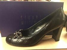 Stuart Weitzman Womens Quantas Black Leather Pump NARROW
