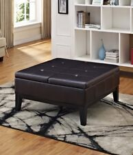 Storage Ottoman Coffee Table Leather Tufted Footstool Cocktail Square Furniture