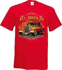 T Shirt im Red tones with a Hot Rod US Car `50 Style Emotiv Model All Fired Up