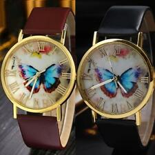 Numerals Fashion Quartz Analog Wrist Watch Butterfly Dial Faux Leather Band