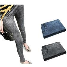 Stylish Ladies Womens Stretchy Leggings Denim Look Jeans Jeggings Pants Trousers