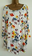 NEW Plus Size 16-28 Multi-Coloured Floral Print Tunic Top White Red Blue Yellow