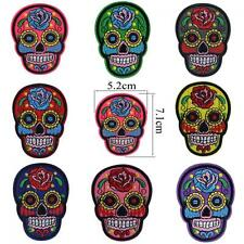 Punk Clothing Fabric Flower Skull Head Patch Iron/sew On Applique Embroidered
