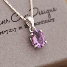925 Sterling Silver Genuine Gemstone Amethyst Pendant Chain Necklace With Box
