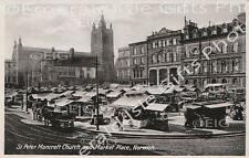 Norfolk Norwich St. Peter Mancroft Church and Market Place b/w Old Photo Print