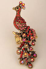 Long Peacock Stretch Ring Cute Animal Bling Jewelry Wholesale Dropshipping 11
