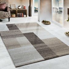 Modern Woven Rug Top Quality Soft Carpet Living room Checked Pattern Beige Brown