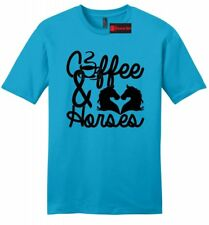 Coffee & Horses Mens Soft T Shirt Country Cowgirl Tee Western Southern Gift Z2