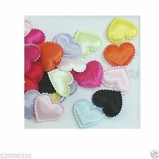 30 pcs Padded Satin Heart Appliques 20mm A054 U pick