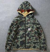 2017 Men's Japan Ape Shark Jaw Coat Camo Reversible Hoodie Windbreaker Jackets