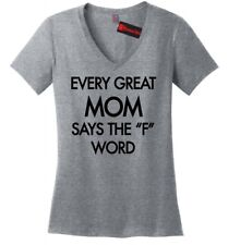 Every Great Mom Curses Funny Ladies V-Neck T Shirt Mothers Day Mom Wife Gift Z5