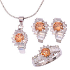 Morganite Topaz CZ Silver Women Necklace Pendant Earrings Ring Jewelry Set NT176