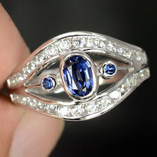 0.7 CT BLUE SAPPHIRE OVAL FACET SILVER 925 COCKTAIL RING SIZE 6.5