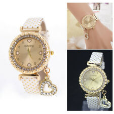 Lady Women Girl Bling Crystal Dial Quartz Analog Leather Bracelet Wrist Watches