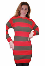 Womens Red & Green Stripe Top Freddy Krueger Ladies Jumper Halloween Fancy Dress