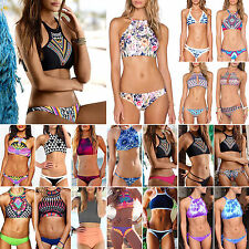 Womens 2Pc High Neck Push-Up Padded Bikini Swimwear Swimsuit Bathing Beachwear