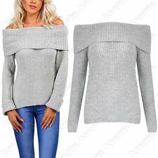 NEW LADIES WOMENS CHUNKY KNIT OFF SHOULDER BARDOT LOOK JUMPER THICK GREY SWEATER