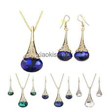 Women Rhinestone Crystal Pendant Necklace Chain Hook Earrings Set Jewelry Set