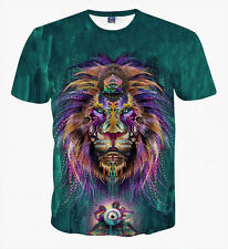 New Trippy 3D T-Shirt Lion Psychedelic Art Casual Fashion Unisex Size S To 5XL