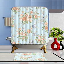 "Flowers Bathroom Mat Waterproof Polyester Fabric Shower Curtain 12 Hooks 72"" 043"