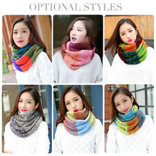 Fashion Mix Colors Ring Women Scarves Knitted Wool Neck Cowl Wrap Winter Warm ZJ