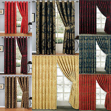 LUXURY Curtains Fully Lined Jacquard Eyelet/Pencil Pleat +TieBack Free P&P Deals