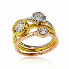 3 Bezel CZ Stone Eternity Stackable Ring Set Gold Sterling Silver / Rose Gold