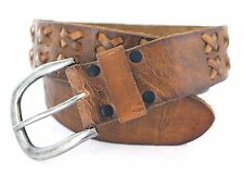 """MEN'S HAND LACED VINTAGE LEATHER BROWN BELT SIZE 1 3/4"""" WIDE WITH SNAP ON BUCKLE"""