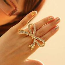 Color Finger Ring Big Bowknot Design Ring Decorative Rings Rhinestone Rings