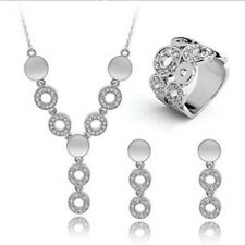 3pcs Women Necklace Ring Earrings Party Wedding 18K Gold Plated Jewelry Set