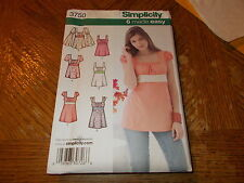 Simplicity Pattern 3750 Ms 6 EZ Styles Empire Waist Top/Tunic w/Sleeve Opts BOHO