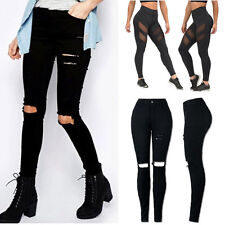 Women Ripped Knee Cut Skinny Long Jeans Patchwork Pants Slim Pencil Trousers US