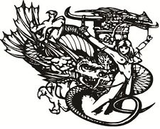 Knight Fighting A Dragon With Woman Sticker- Vinyl Decal Sticker For Car, Truck