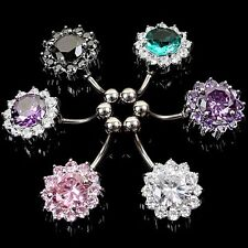 Zircon Bar Crystal Flower Jewelry Belly Navel Ring Body Piercing