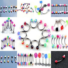 5Pcs Jewelry Stainless Steel Acrylic Eyebrow Lip Nose Ring Earring Body Piercing