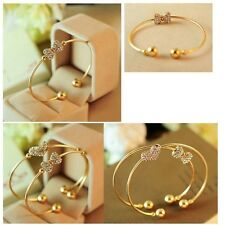 Full Rhinestone Single Bows Bangles Gold Plated Bracelet For Ladies Jewelry
