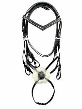 New Grackle Bridle BLACK & Brown with 1-R white Diamonte on V Browband + Reins