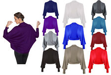 New Womens Ladies Batwing Long Sleeve Jersey Bolero Shrug Cardigan Top Size 8-26