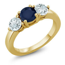 1.80 Ct Blue Sapphire Sky Blue Aquamarine 18K Yellow Gold Plated Silver Ring