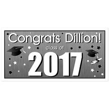 Class of 2017 Personalized Graduation Banner Silver Party Backdrop