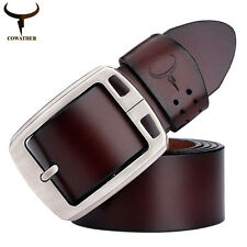 Men Real Leather Cowhide Waist Belt Alloy Pin Buckle Waistband Strap Fitness New