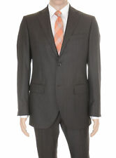 Lubiam Studio Slim Fit Brown Nailhead Two Button Wool Suit Made In Italy