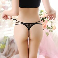 Women Thongs Panty Strap Floral G-string Low Waist Underwear Lace Crotchless