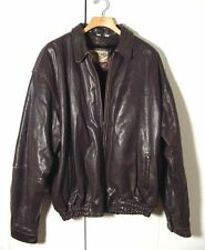 Vtg American Born Brown Distressed Leather Bomber Motorcycle Jacket Sz 7XL