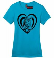 Horse Heart Ladies T Shirt Love Horse Graphic Country Cowgirl Gift Soft Tee Z4