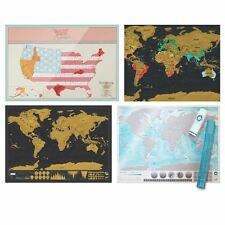 Luckies Scratch Off World and USA Maps Oceans Deluxe Travel Editions