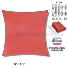 Custom Red Square Sun Shade Sail Canopy Awning  Patio Pool Cover UV W/ 8 in Kit
