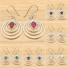 925 Silver Plated LAPIS LAZULI, PEARL & Other Gemstones Variation Earrings