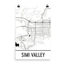Simi Valley CA Street Map Poster