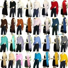 Lots 10,12,24 Solid 100%Pashmina/Cashmere Classic SHAWL Scarf Stole WRAP Silky